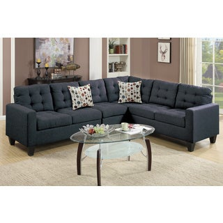Linen Like Upholstered 4 Piece Left Or Right Hand Sectional Sofa Set