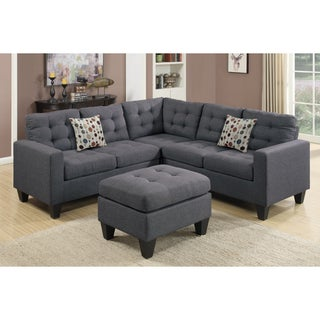 Bobkona Norton Linen-Like 4 Piece Sectional with Ottoman Set (Option: Grey/Blue)
