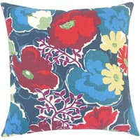 Urijah Floral 22-inch Down Feather Throw Pillow Poppy