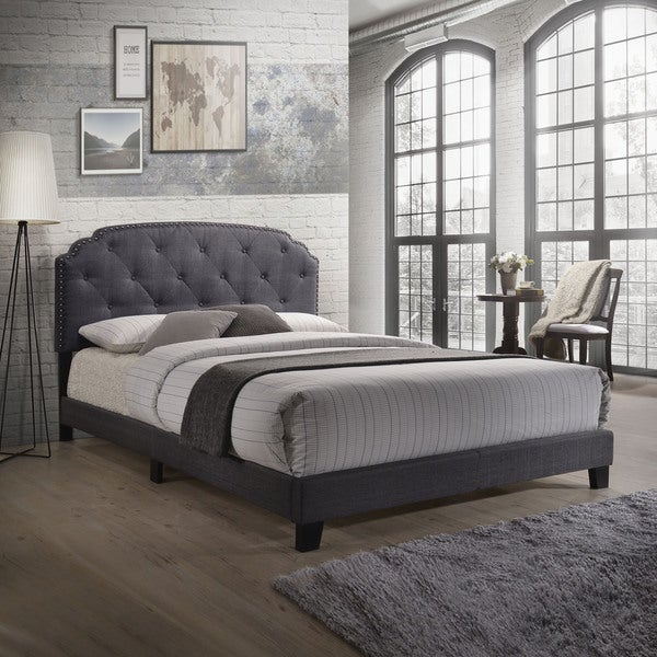 Queen Bed in Gray Fabric. Opens flyout.