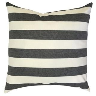 "Tailyn Striped 22"" x 22"" Down Feather Throw Pillow Black/White"