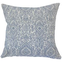 Hessa Damask 22-inch Down Feather Throw Pillow Lapis