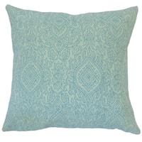 Hessa Damask 22-inch Down Feather Throw Pillow Turquoise