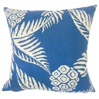 Era Floral 22-inch Down Feather Throw Pillow Navy