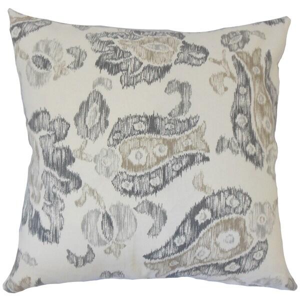 Kaley Ikat 22-inch Down Feather Throw Pillow Grey