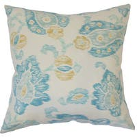 """Maaile Floral 22"""" x 22"""" Down Feather Throw Pillow Turquoise"""