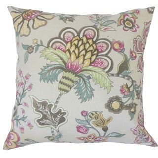 "Afya Floral 22"" x 22"" Down Feather Throw Pillow Linen"
