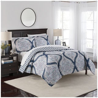 Marble Hill Lotus Reversible 100% cotton 3-Piece Comforter Set