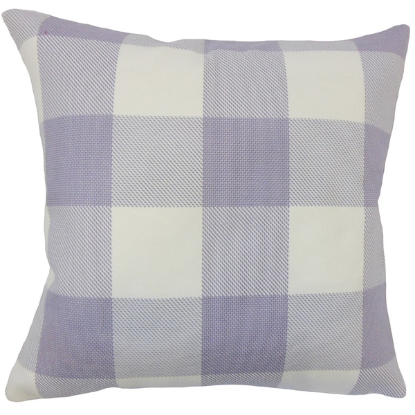 Baker Plaid 22-inch Down Feather Throw Pillow Purple