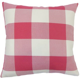 Baker Plaid 22-inch Down Feather Throw Pillow Pink
