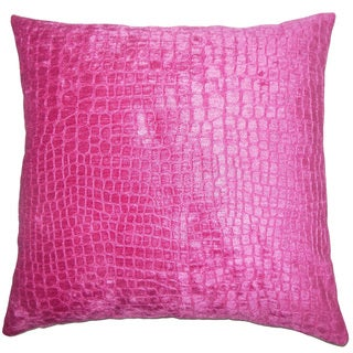 Fiachra Solid 22-inch Down Feather Throw Pillow Magenta