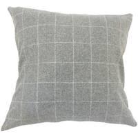 Hanan Plaid 22-inch Down Feather Throw Pillow Grey
