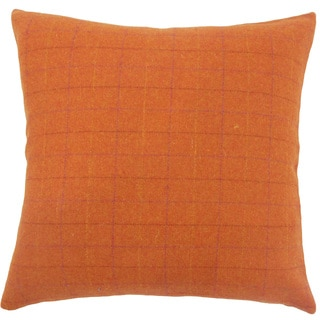 Geovany Plaid 22-inch Down Feather Throw Pillow Orange