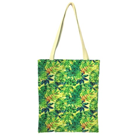 Red Pomegranate Jungle Fabric Tote Bag