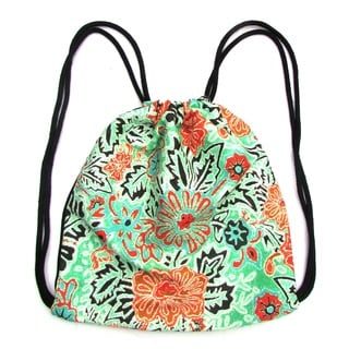 Red Pomegranate Floral Drawstring Backpack