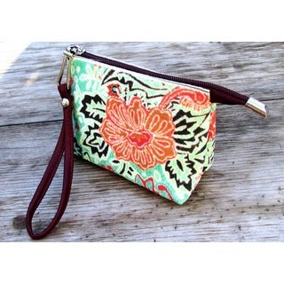 Red Pomegranate Floral Wristlet Cosmetic Toiletry Bag
