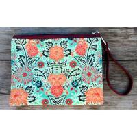 Red Pomegranate Floral Wristlet Clutch