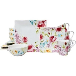 222 Fifth Floral Fete Pink Porcelain 16-piece Dinnerware Set