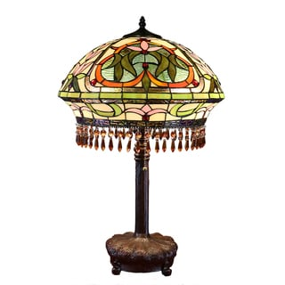 Belmont Tiffany-style Multicolored Glass and Antique Bronze Base 25-inch Table Lamp