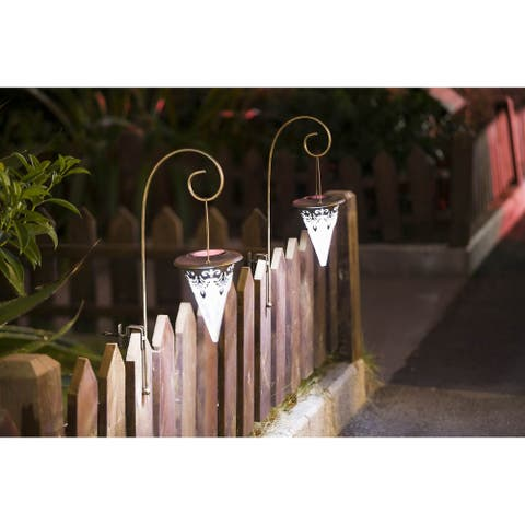 Set of 2 Tapered Solar Lights with Fence hook attachment