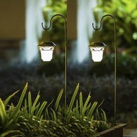 Set of 2 Decorative Leaves Design Hanging Solar Lights with Shepherd's hook