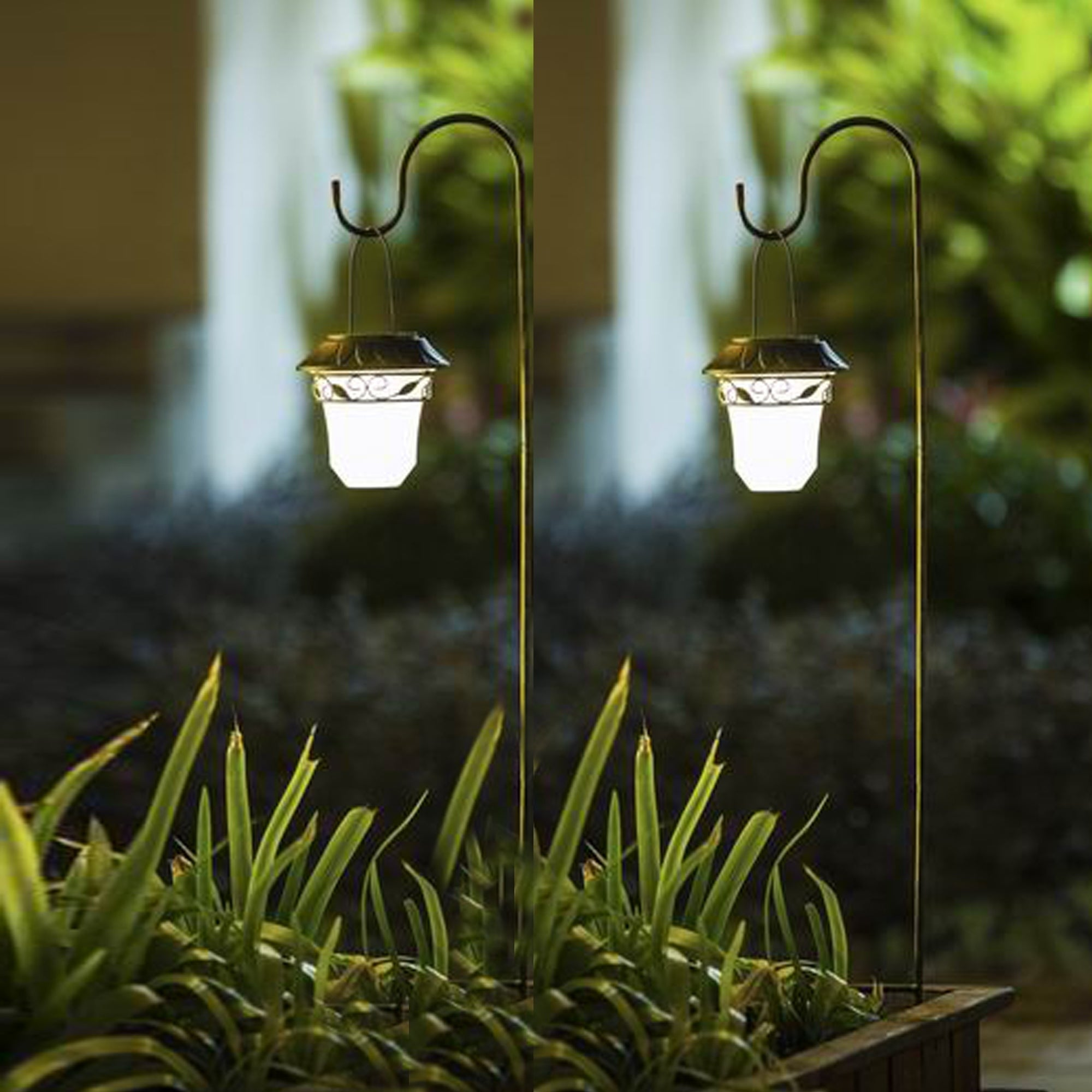 Set Of 2 Leaf Solar Plastic Lanterns With Metal Shepherd Hooks Overstock 15268527
