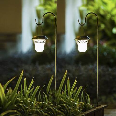 Set of 2 Leaf Solar Plastic Lanterns with Metal Shepherd Hooks