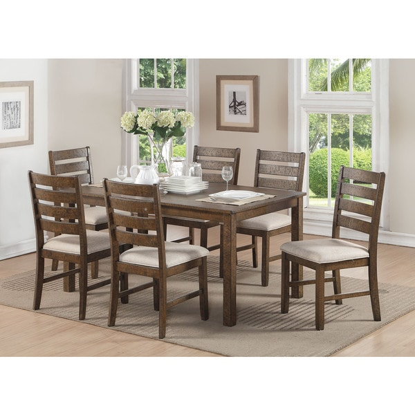 Acme Furniture Salileo Weathered Light Oak 7 Piece Dining Set