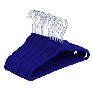 Non-Slip Kids Children Clothes Hangers Velvet Flocking Blue (Pack of 20)