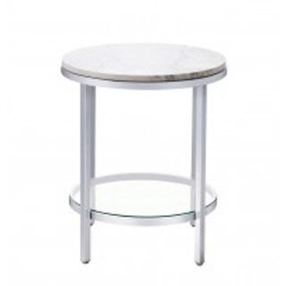 Bassett Mirror Company Jadyn RD Silver Steel/Marble End Table