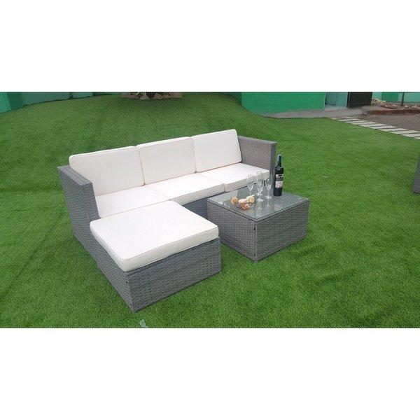 Shop Mcombo 5pcs Grey Wicker Patio Sectional Furniture Set