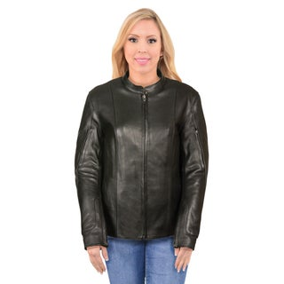 Women's Racer Style Jacket with Side Buckles