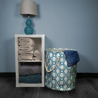 3pc Laundry Hamper with Rope Handles in Key Lattice Pattern