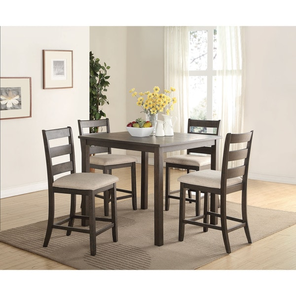 Acme Furniture Salileo 5 Piece Pack Counter Height Set, Weathered Dark Oak