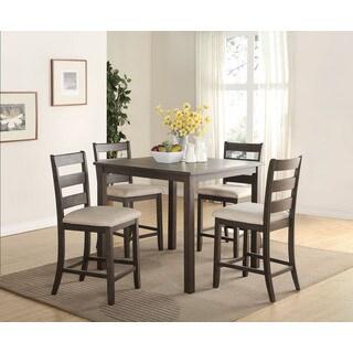 Acme Furniture Salileo 5-Piece Pack Counter Height Set, Weathered Dark Oak