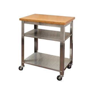 Clay Alder Home Hell Gate Stainless Steel Bamboo Top Kitchen Work Table Cart
