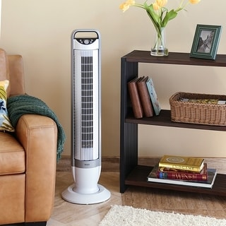 Seville Classics UltraSlimline 40 inch Oscillating Tower Fan with Tilt Feature, White