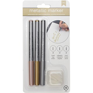 Metallic Markers Broad Point 3/Pkg-Rose Gold, Gold & Silver