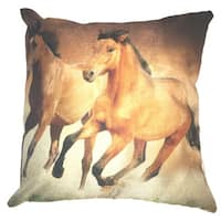 Lillowz  Brown Horses Canvas Throw Pillow 17-inch
