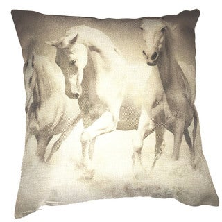 Lillowz Horses Canvas Throw Pillow 17-inch