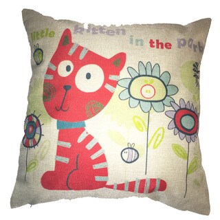 Lillowz Kitty In Park Canvas Throw Pillow 17-inch