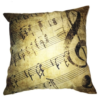 Lillowz Vintage Music Notes Canvas Throw Pillow 17-inch