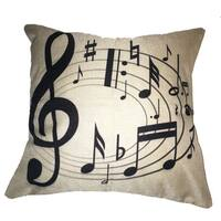 Lillowz Swirling Music Notes Canvas Throw Pillow 17-inch