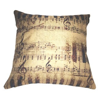 Lillowz Rustic Sheet Music Canvas Throw Pillow 17-inch