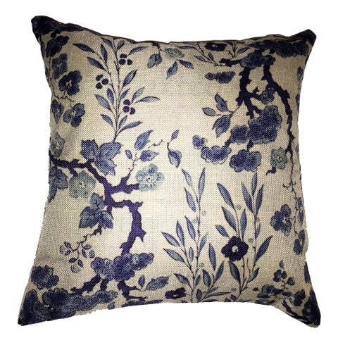 Lillowz Floral Damask Jaquard Canvas Throw Pillow 17-inch