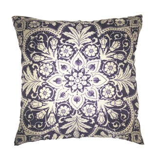 Lillowz Print Damask Jaquard Canvas Throw Pillow 17-inch