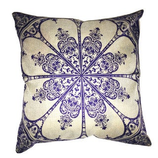 Lillowz Star Damask Jaquard Canvas Throw Pillow 17-inch