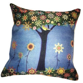 Lillowz Floral Tree Canvas Throw Pillow 17-inch
