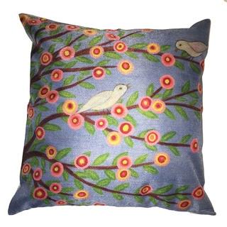 Lillowz Flowers & White Bird Canvas Throw Pillow 17-inch