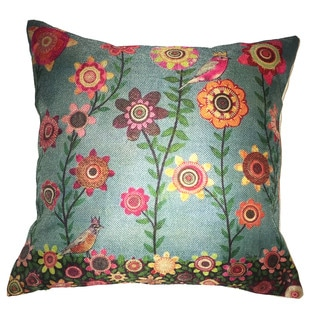 Lillowz Flowers & Royal Bird Canvas Throw Pillow 17-inch